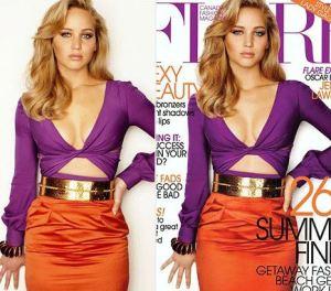 Çok sevdiğim Jennifer Lawrence'ın kapak fotoğrafı editlendikten sonra, kendisi de eleştirmişti