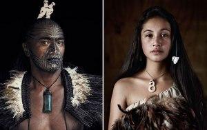 Geleneksek kıyafetleri ile Maoriler